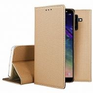 Кожен калъф Flip Book Smart за Samsung A605 Galaxy A6 Plus 2018, Златен