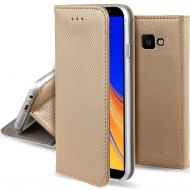 Кожен калъф Flip Book Smart за Samsung J415 Galaxy J4 Plus 2018, Златен